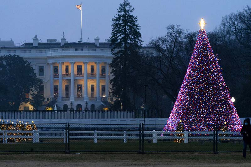The National Christmas Tree glows with lights on the Ellipse near the White House, Thursday, December 24, 2020, on Christmas Eve in Washington. Photo: AP