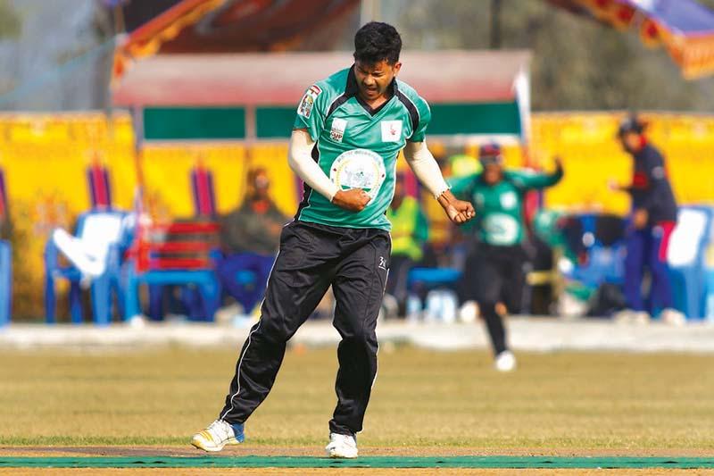 Raptiu2019s Abhinas Bohara celebrates after taking a wicket against Bagmati during their Gautam Buddha Cup match in Chitwan on Sunday, December 13, 2020. Photo Courtesy: HamroKhelkud