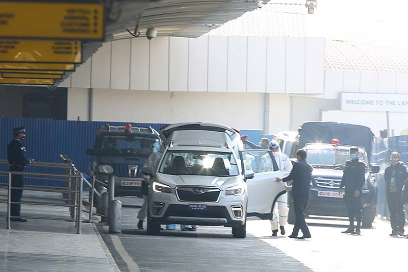 Vice-minister of the International Department of the Communist Party of China, Guo Yezhou taking a vehicle upon his arrival at Tribhuvan International Airport, Kathmandu, on Sunday, December 27, 2020. Photo: RSS