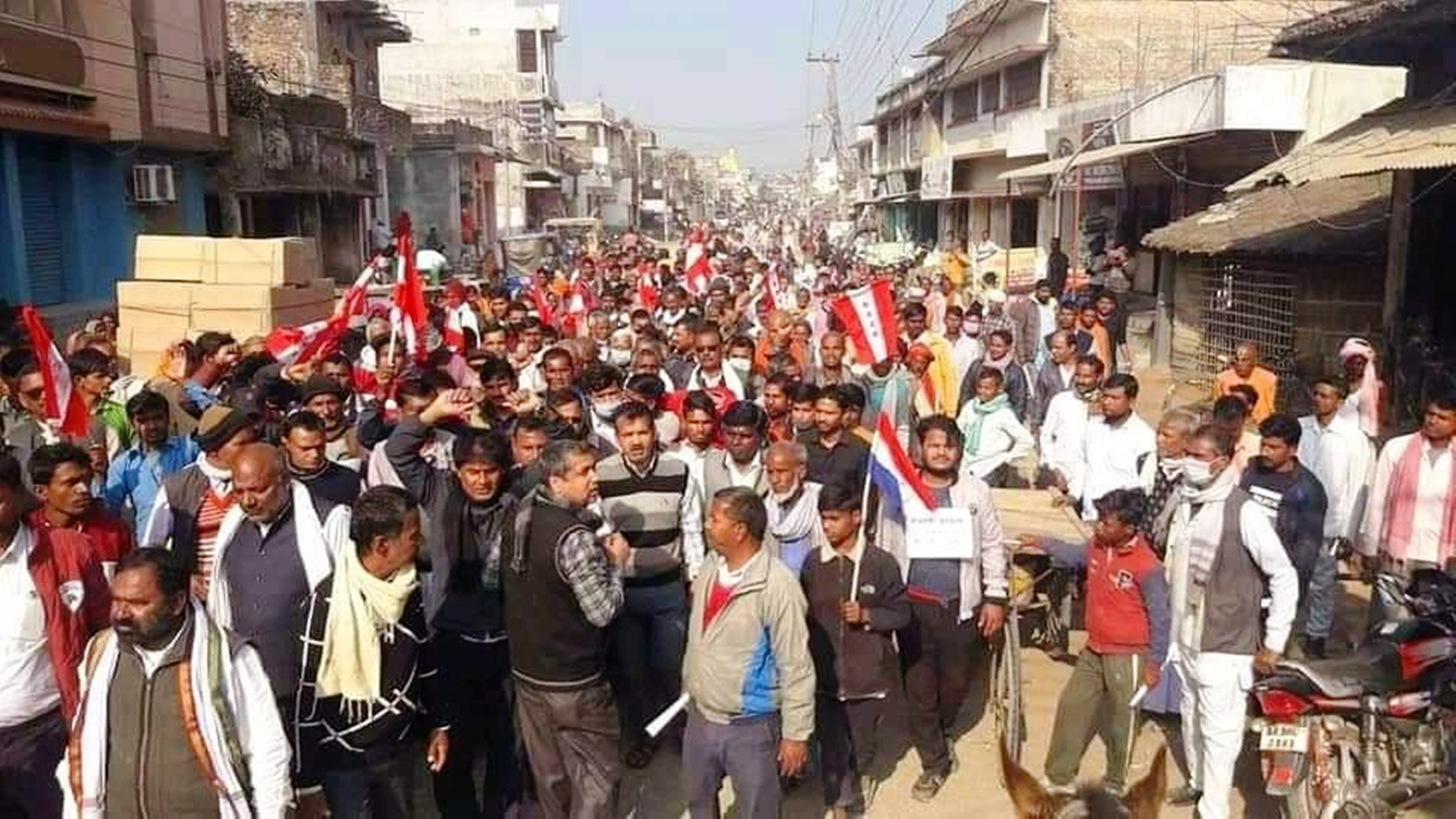 Scores of Nepali Congress(NC) party leaders and workers hit the streets of district headquarters Gaur to demonstrate against PM Oli's decision of house dismantling, on Monday, December 28, 2020. Photo: Prabhat Jha/ THT
