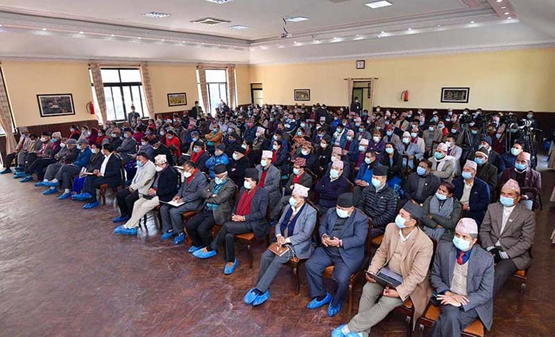 Leaders close to KP Sharma Oli attending the Central Committee meeting of the Nepali Communist Party (NCP) called by Oli at his official residence in Baluwatar, Kathmandu, on Tuesday, December 22, 2020. Photo: PM's Private secretariat via RSS