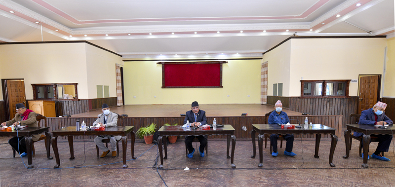 The ruling Nepal Communist Party (NCP)'s Standing Committee meeting underway, before it shortly concluded, at the Prime Minister's official residence, in Baluwatar, Kathmandu, on Sunday, December 13, 2020. Photo Courtesy: Rajan Kafle/Prime Minister's Secretariat