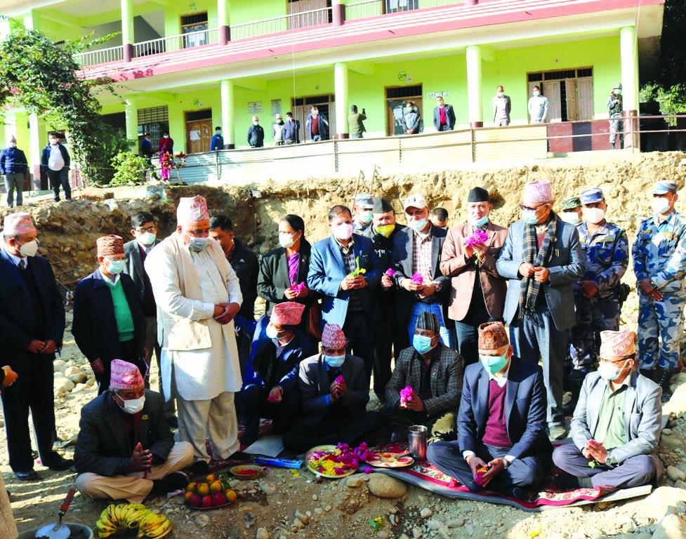 Minister of Finance Bishnu Prasad Paudel attending the foundation laying ceremony of a school building, in Butwal, on Tuesday. Photo: RSS
