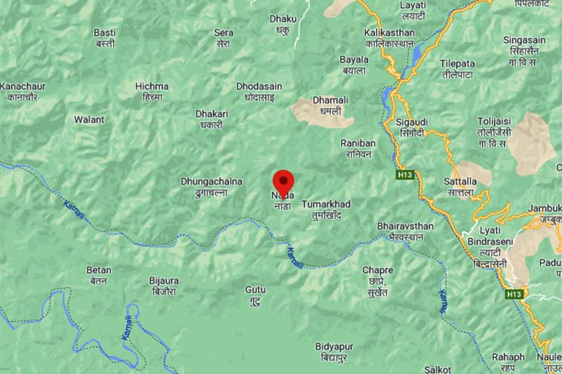 This image shows the map of Nada area in Turmakhand Rural Municipality in Achham district. Image: Google Maps