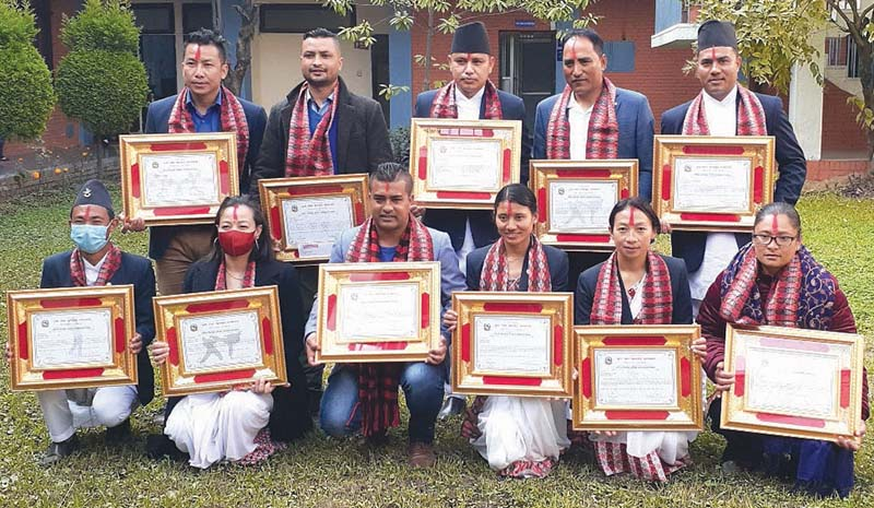 Winners of the National Player Talent Award pose for a group photo in Kathmandu on Tuesday, December 22, 2020. Photo Courtesy: NSC