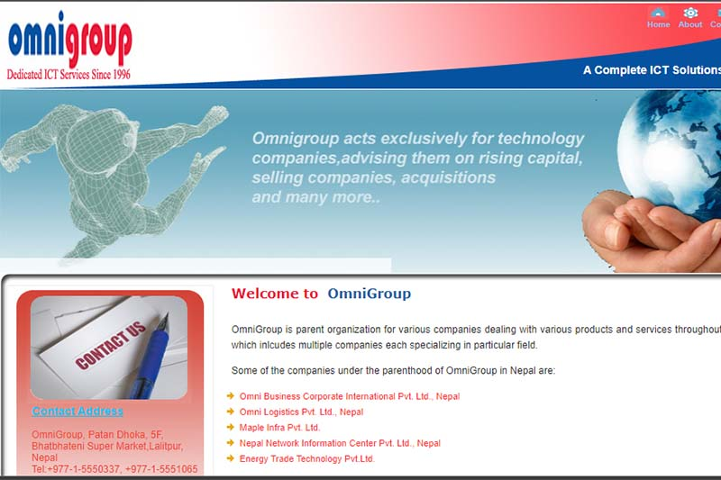 This image shows the homepage of Omni Group Nepal. Image: omnigroup.com.np