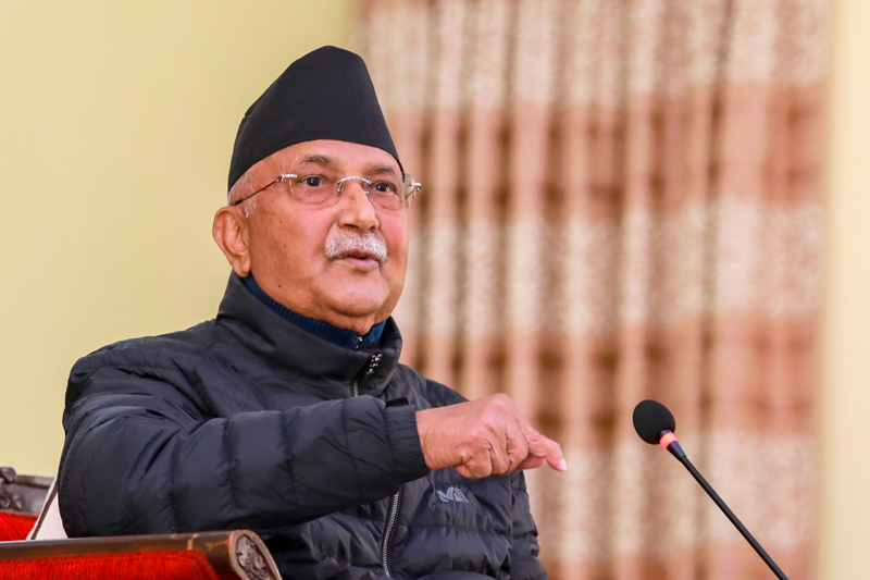 Prime Minister KP Sharma Oli addressing a meeting called at his official residence, wherein lawmakers belonging to his faction within the party were present, in Baluwatar, Kathmandu, on December 21, 2020. Photo Courtesy: Rajan Kafle/Prime Minister's Secretariat