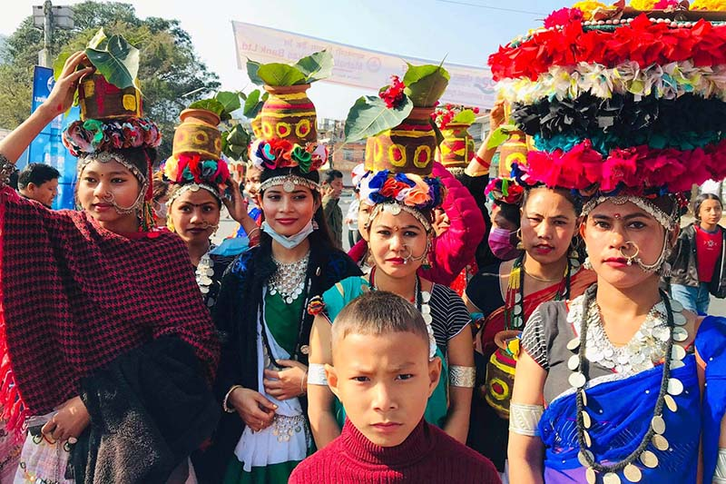 Tharu women in traditional attire participating in the Pokhara Street Festival, on Wednesday, December 30, 2020. Photo: RSS