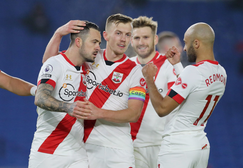 Southampton's James Ward-Prowse celebrates with Danny Ings after the Premier League match between Brighton & Hove Albion and Southampton, at The American Express Community Stadium, in Brighton, Britain, on December 7, 2020. Photo: Pool via Reuters