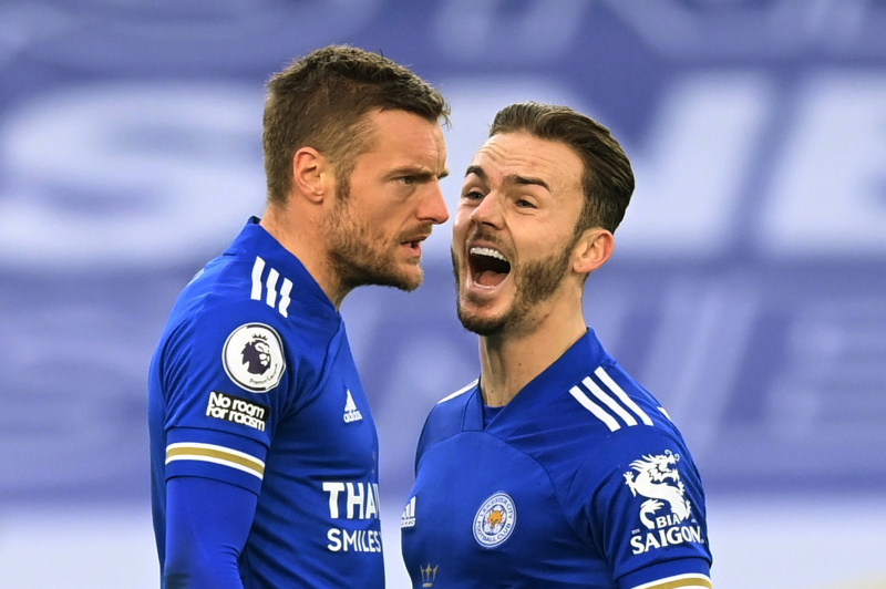 Leicester City's Jamie Vardy celebrates scoring their second goal with James Maddison during the Premier League match between Leicester City and Manchester United, at King Power Stadium, in Leicester, Britain, on December 26, 2020. Photo:  Pool via Reuters