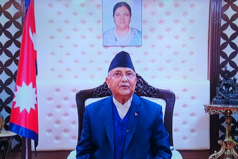 Prime MInister KP Sharma Oli addresses the nation from his official residence in Baluwatar, Kathmandu, on Monday, December 21, 2020. Photo: still image from NTV live broadcast