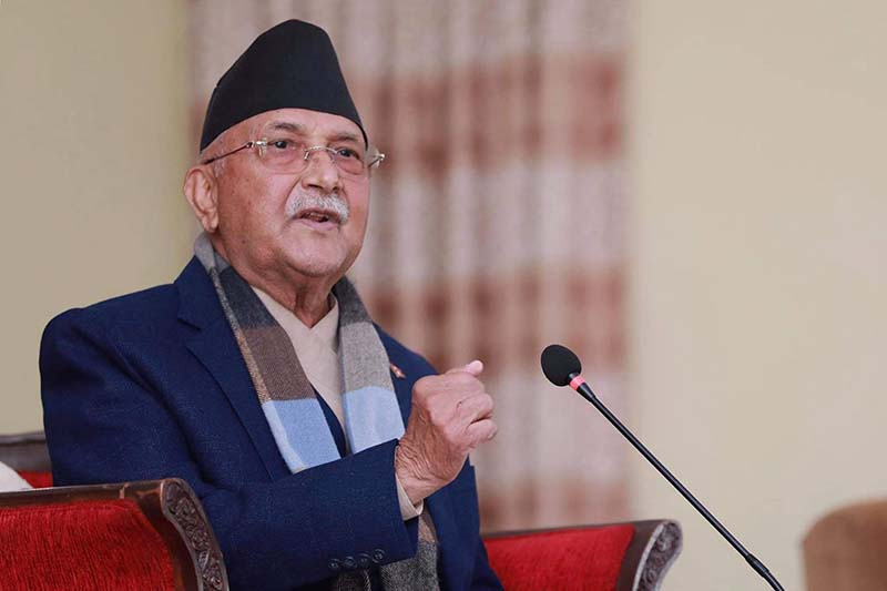 Prime Minister KP Sharma Oli addressing the Central Committee meeting of the Nepali Communist Party (NCP) called by Oli at his official residence in Baluwatar, Kathmandu, on Tuesday, December 22, 2020. PM's Private secretariat via RSS