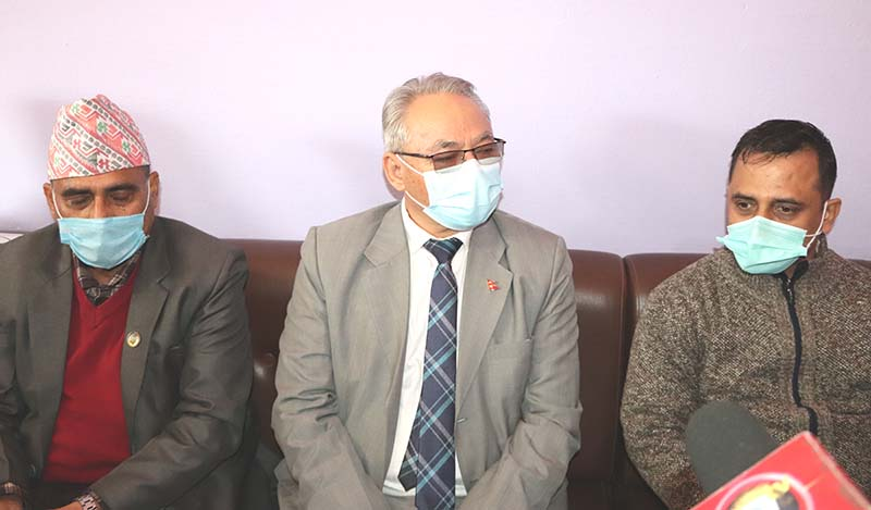 Minister for Home Affairs Ram Bahadur Thapa attending a press conference organised by the Press Organisation, Chitwan at Bharatpur Airport, on Monday, December 14, 2020. Photo: Tilak Ram Rimal/THT