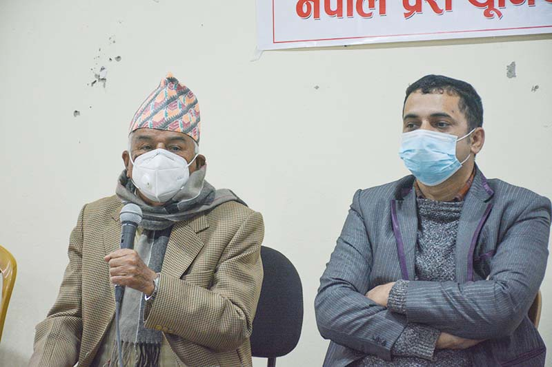 Nepali Congress leader Ramchandra Poudel addressing a press conference organised by Nepal Press Union, Damauli, in Tanahun, district, on Wednesday, December 2, 2020. Photo: RSS