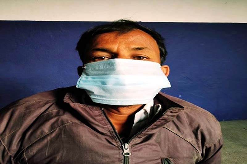 This image taken on December 1, 2020, shows Tej Narayn Das, an absconding murder accused who was arrested on November 30 in Katahariya Municipality, Rautahat district. Photo: Prabhat Kumar Jha/THT