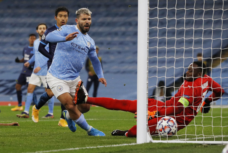 Manchester City's Sergio Aguero scores their second goal durig the Champions League  Group C match between Manchester City and Olympique de Marseille, at Etihad Stadium, in Manchester, Britain, on December 9, 2020. Photo: Reuters