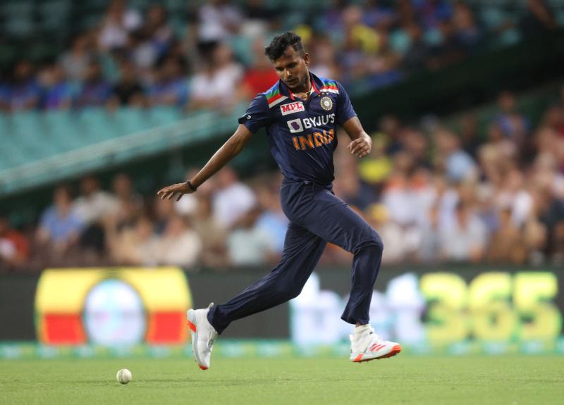 India's Thangarasu Natarajan in action n during the Second Twenty20 International match between Australia and India, at Sydney Cricket Ground, in Sydney, Australia, on December 6, 2020. Photo: Reuters
