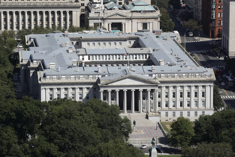 The U.S. Treasury Department building viewed from the Washington Monument, Wednesday, Sept. 18, 2019, in Washington. Photo: AP/File