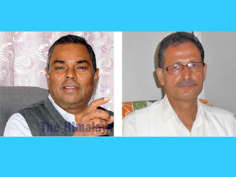 This combo image shows Janata Samajwadi Party chairman Upendra Yadav and Speaker of the House of Representatives Agni Prasad Sapkota. Photo: THT
