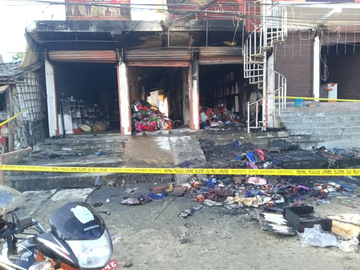 Two garment shops that were gutted in a fire that occurred on Monday night, in Golbazaar Municipality-4 of Siraha district, as pictured on Tuesday, December 01, 2020. Photo: Aashish BK/ THT
