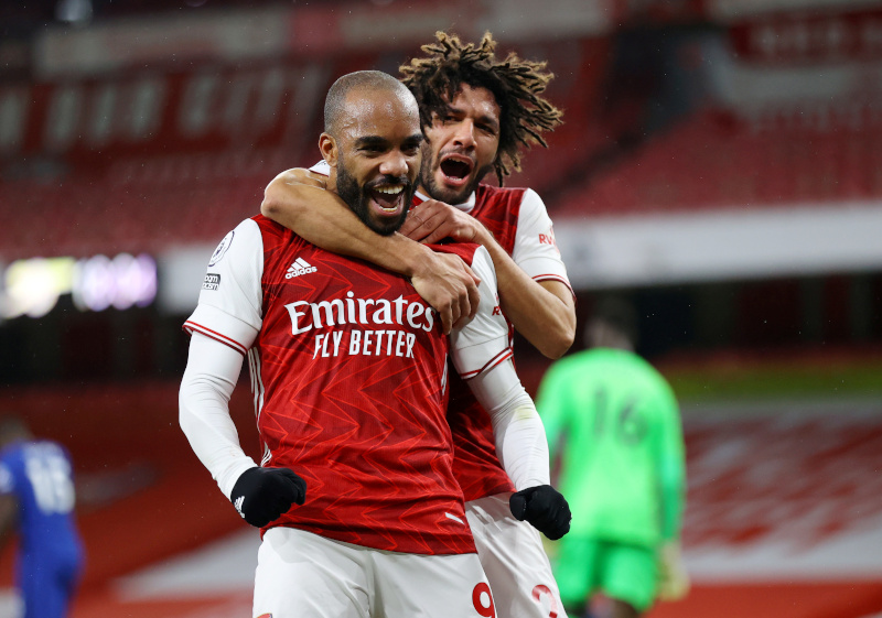 Arsenal's Alexandre Lacazette celebrates scoring their first goal n during the Premier League match between Arsenal and Chelsea, at  Emirates Stadium, in London, Britain, on December 26, 2020. Photo: Pool via Reuters
