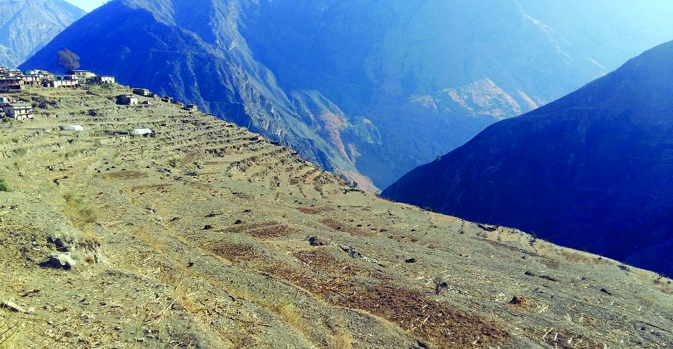 A view of arable land that has turned barren due to prolonged drought in Himali Rural Municipality, Bajura, on Wednesday. Photo: THT