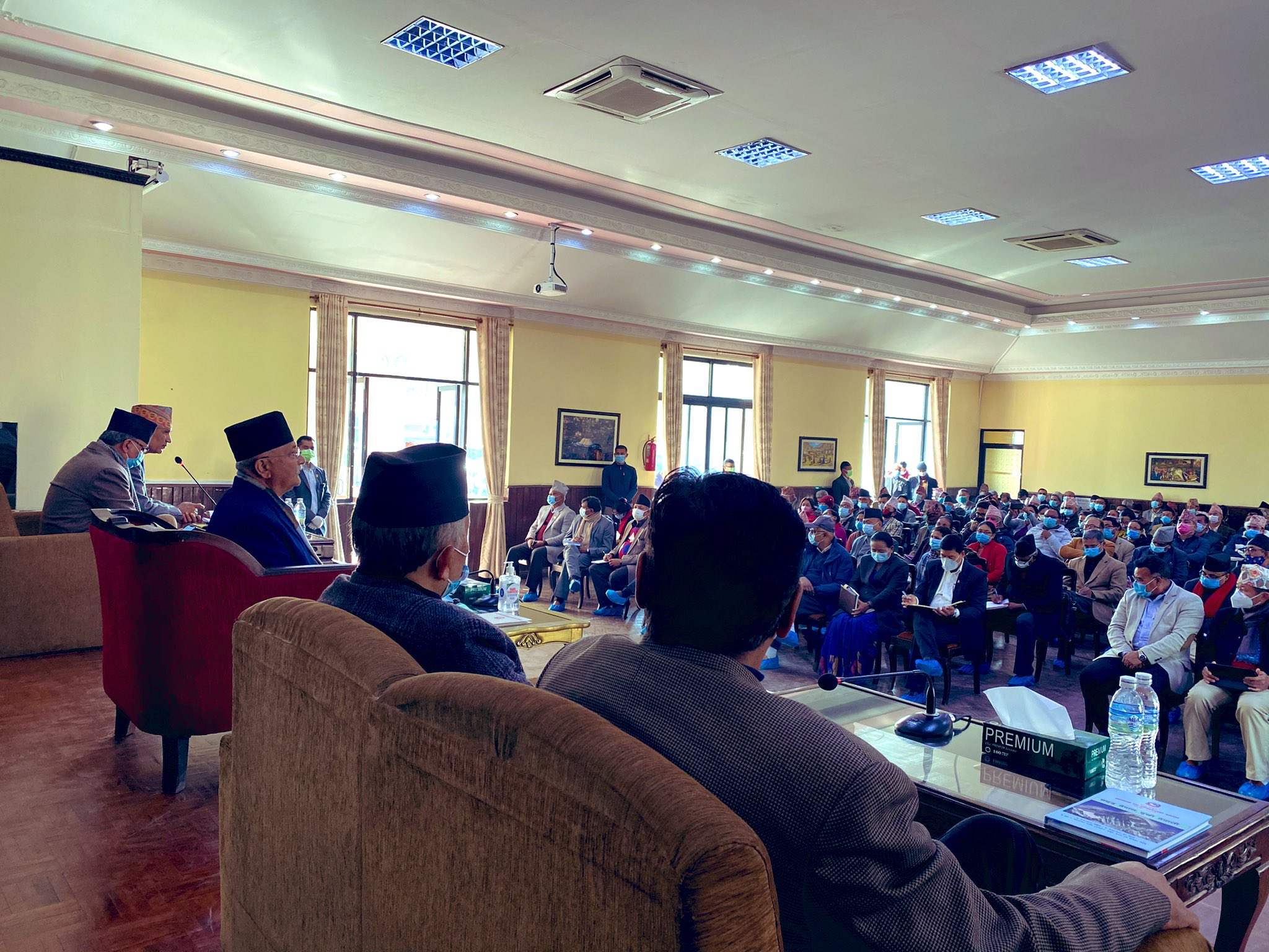 Central Committee meeting of the ruling Nepal Communist Party (NCP), called by co-chair Prime Minister KP Sharma Oli, underway at the PM's official residence in Baluwatar, Kathmandu, on Tuesday, December 22, 2020. Photo Courtesy: Bishnu Rimal/Twitter