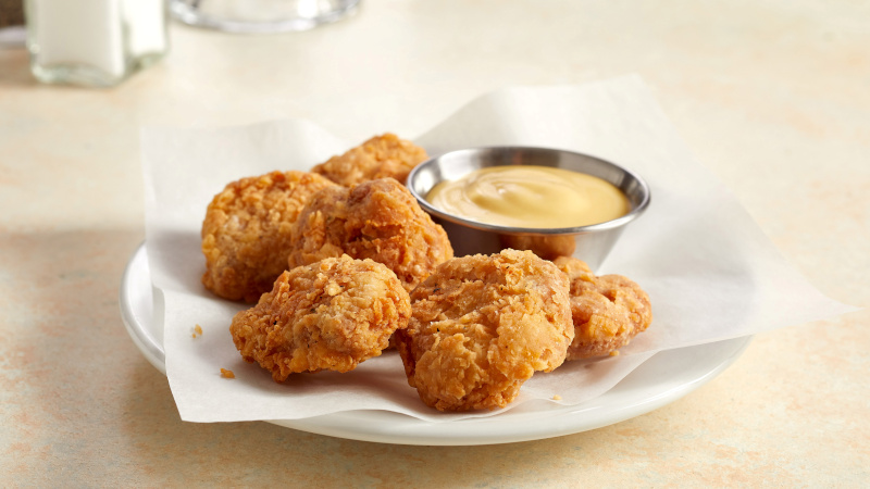 Chicken bites made from lab-grown cultured chicken developed by Eat Just. Photo: Eat Just, Inc./Handout via Reuters
