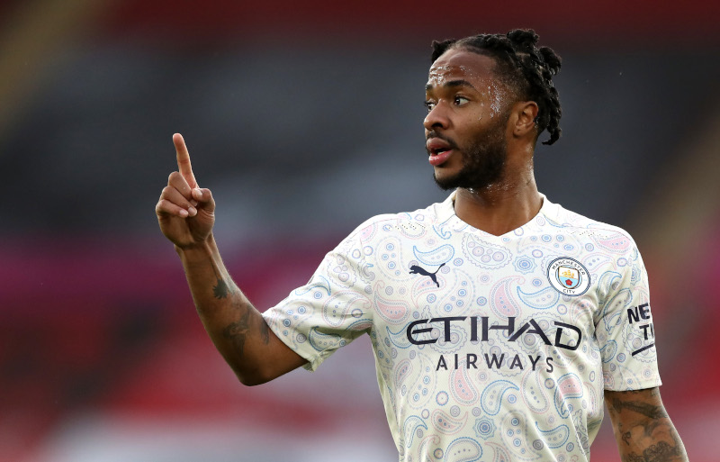 Manchester City's Raheem Sterling during the Premier League match between  Southampton and Manchester City, at St Mary's Stadium, in Southampton, Britain, on December 19, 2020. Photo: Pool via Reuters