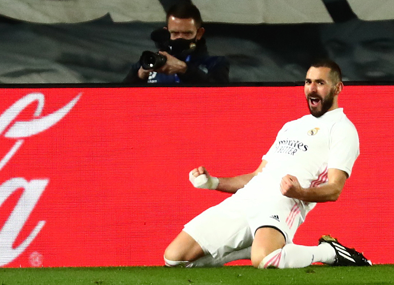 Real Madrid's Karim Benzema celebrates scoring their second goal  during the La Liga Santander match  between Real Madrid and Athletic Bilbao, at Estadio Alfredo Di Stefano, in Madrid, Spain, on December 15, 2020. Photo: Reuters