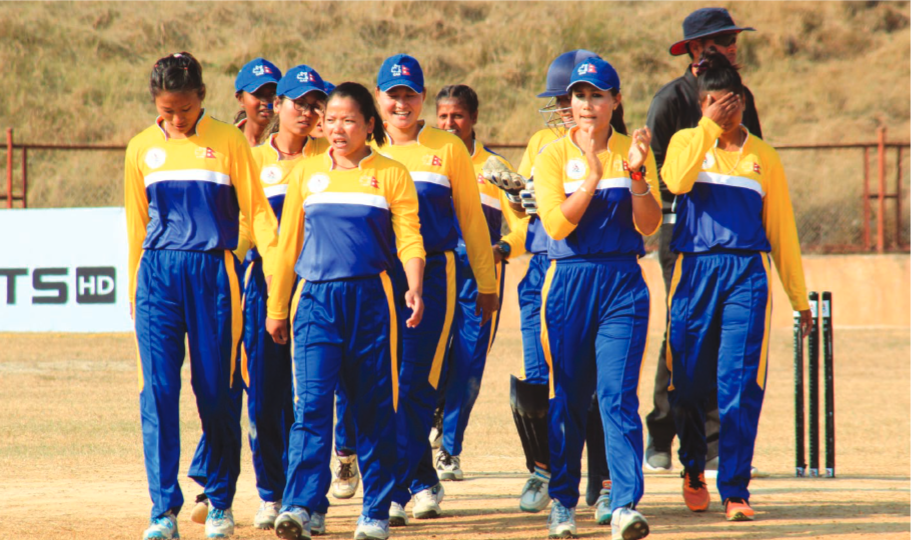 Province-1 team members celebrate after bowling Lumbini Province out for 52 runsnin their semi-final match of the Sagarmatha Cement PM Cup Womenu2019s NationalnCricket Tournament in Dang on Saturday. Photo Courtesy: CAN