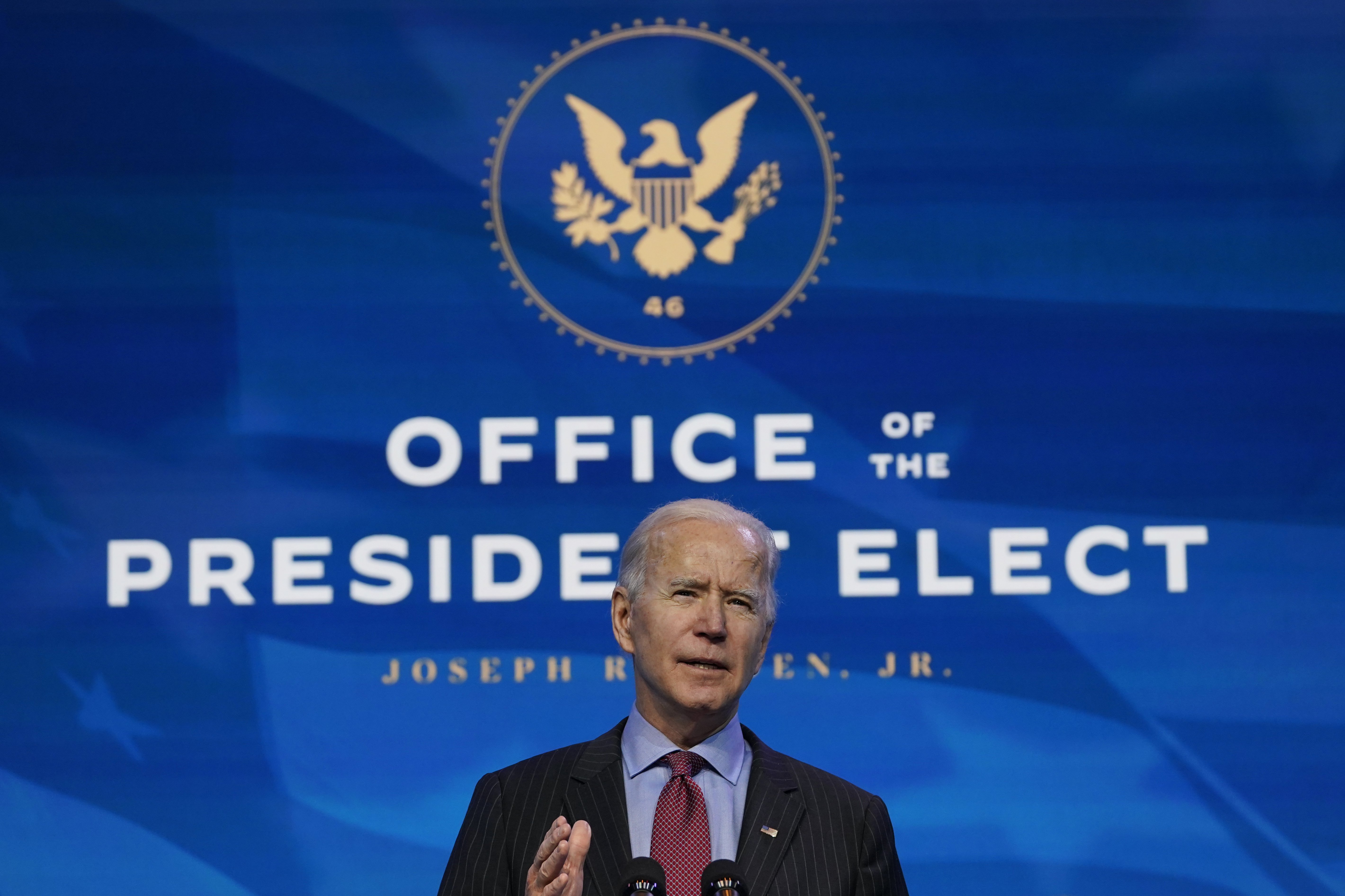 President-elect Joe Biden speaks during an event at The Queen theater in Wilmington, Del., Friday, Jan. 8, 2021, to announce key administration posts. Photo: AP