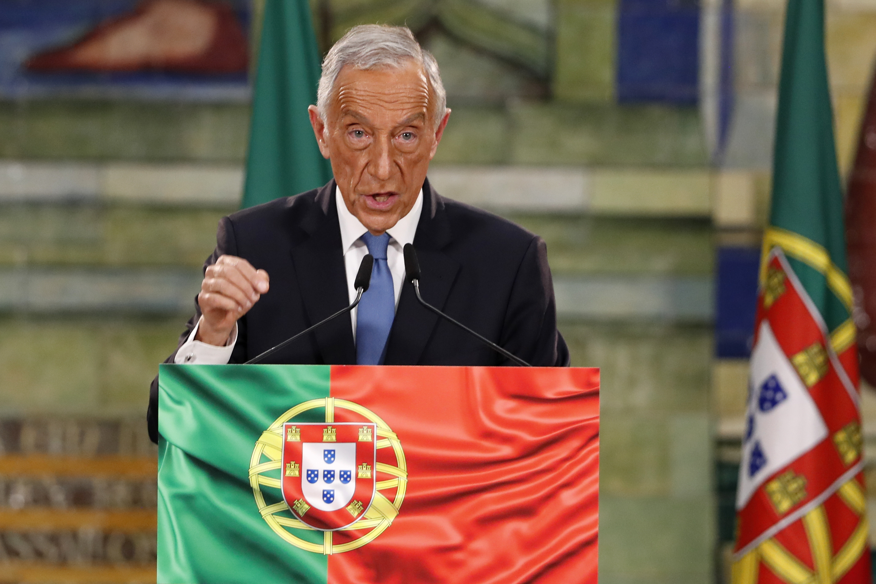 Incumbent Marcelo Rebelo de Sousa delivers a speech following the results of Portugal's presidential election, in Lisbon, Monday, Jan. 25, 2021. Rebelo de Sousa was reelected for a second five-year term. Photo: AP