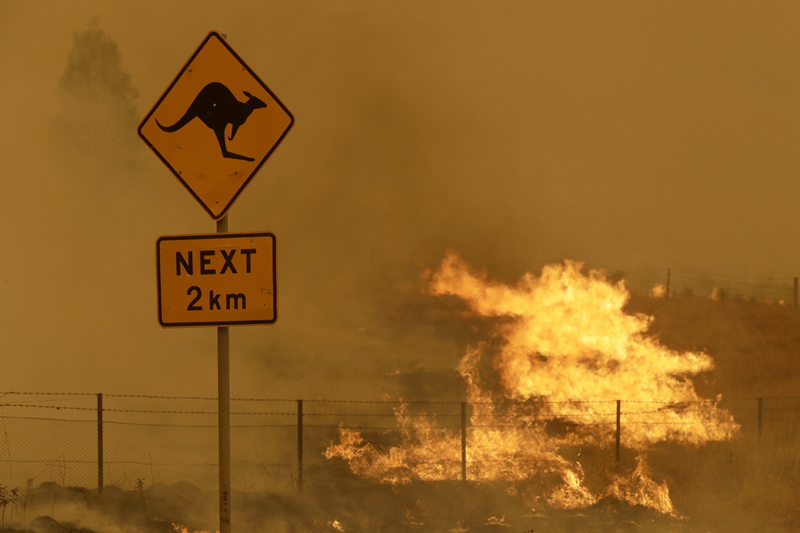 In this  Feb 1, 2020, file photo, a fire burns in the grass near Bumbalong, south of the Australian capital, Canberra. Australia has sweltered through its fourth-hottest year on record despite the usually cooling impact in recent months of the La Nina climate pattern, the nationu0092s weather bureau said on Friday, Jan. 8, 2021. Photo: AP/File