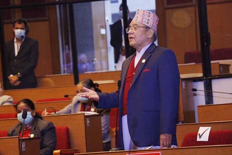 Nepal Communist Party (NCP) leader Bamdev Gautam addressing the meeting of National Assembly at the special hour in Federal Parliament building in New Baneshwor, Kathmandu, on Thursday, January 7, 2021. Photo: RSS