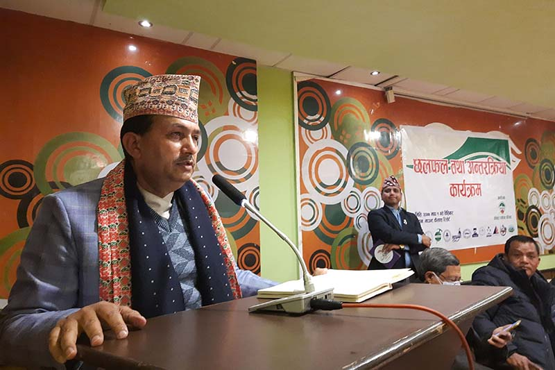 Minister for Culture, Tourism and Civil Aviation Bhanubhakta Dhakal addressing a discussion programme organised by Pokhara Tourism Council in Kaski, on Thursday, January 14, 2021. Photo: RSS