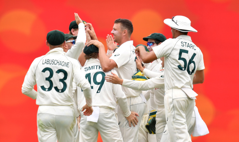 Josh Hazlewood (C) of Australia celebrates with team mates after getting the wicket of Mayank Agarwal of India during day three of the fourth test match between Australia and India at the Gabba in Brisbane, Australia, January 17, 2021. Photo: AAP Image/Darren England via Reuters