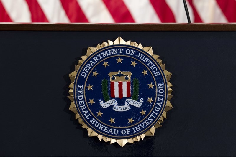 In this June 14, 2018, file photo, the FBI seal is seen before a news conference at FBI headquarters in Washington. Photo: AP/File