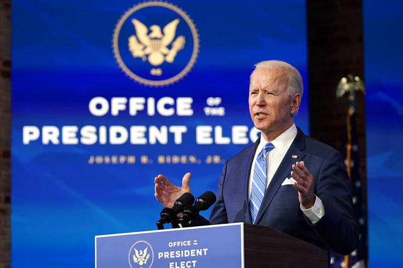 President-elect Joe Biden speaks about the COVID-19 pandemic during an event at The Queen theater, in Wilmington,Delaware, US, on Thursday, January 14, 2021. Photo: AP