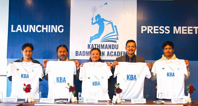 (From left) NNIPA President Deepak Shrestha, Nepal Badminton Association President Ramji Bahadur Shrestha, KBA President Rita Adhikari Bista, Secretary Deepak Thapa and Bulls Indoor CEO Karan Pun unveiling the Kathmandu Badminton Academy jerseys in Lalitpur on Friday, January 1, 2021. Photo: THT