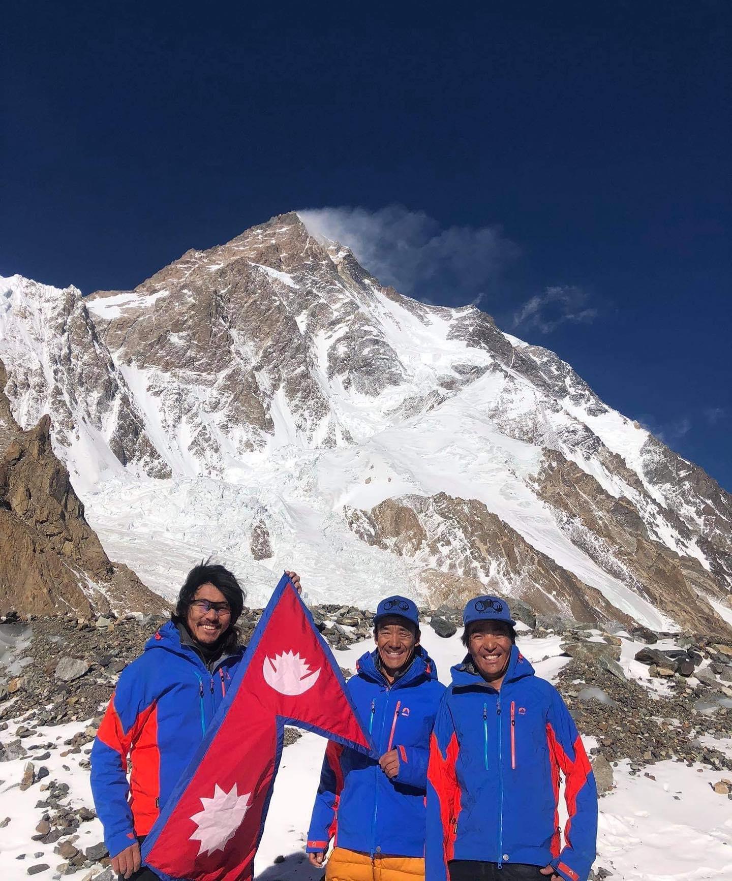 Mingma Gyalje with his Nepali Sherpa climbers' team on Mt K2. Photo Courtesy: Mingma Gyalje