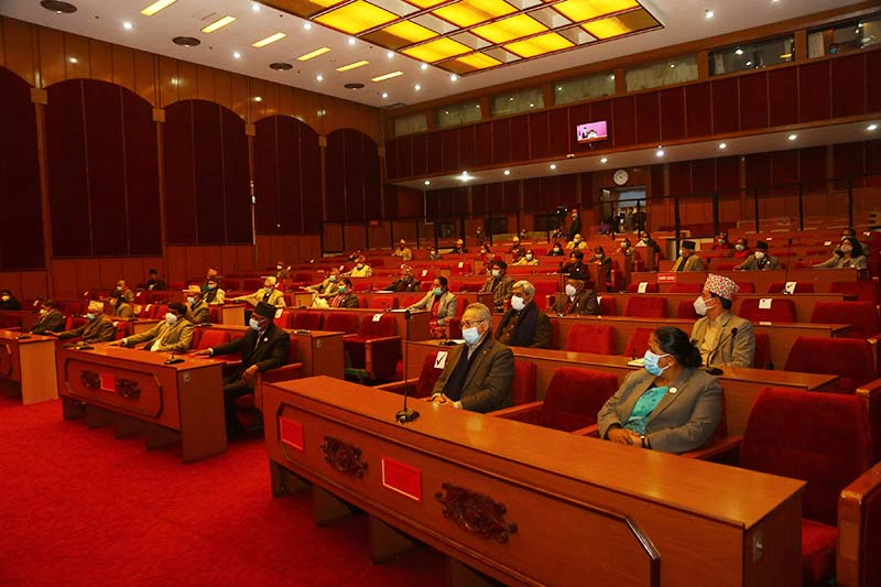 Lawmakers of various parties attend the first meeting of the seventh session of National Assembly in Kathmandu, on Friday, January 1, 2021. Photo: RSS