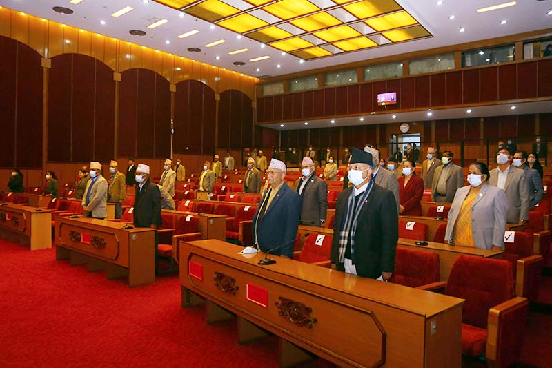 Prime Minister KP Sharma Oli among other lawmakers attend National Assembly meeting at Federal Parliament building in New Baneshwor, Kathmandu, on January11, 2021. Photo: RSS