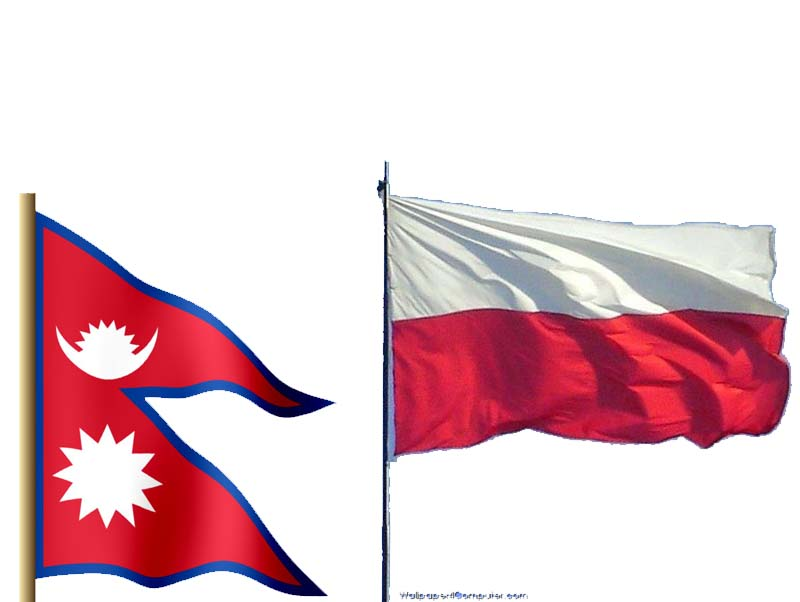 This combo image shows flags of Nepal and Poland. Image: THT