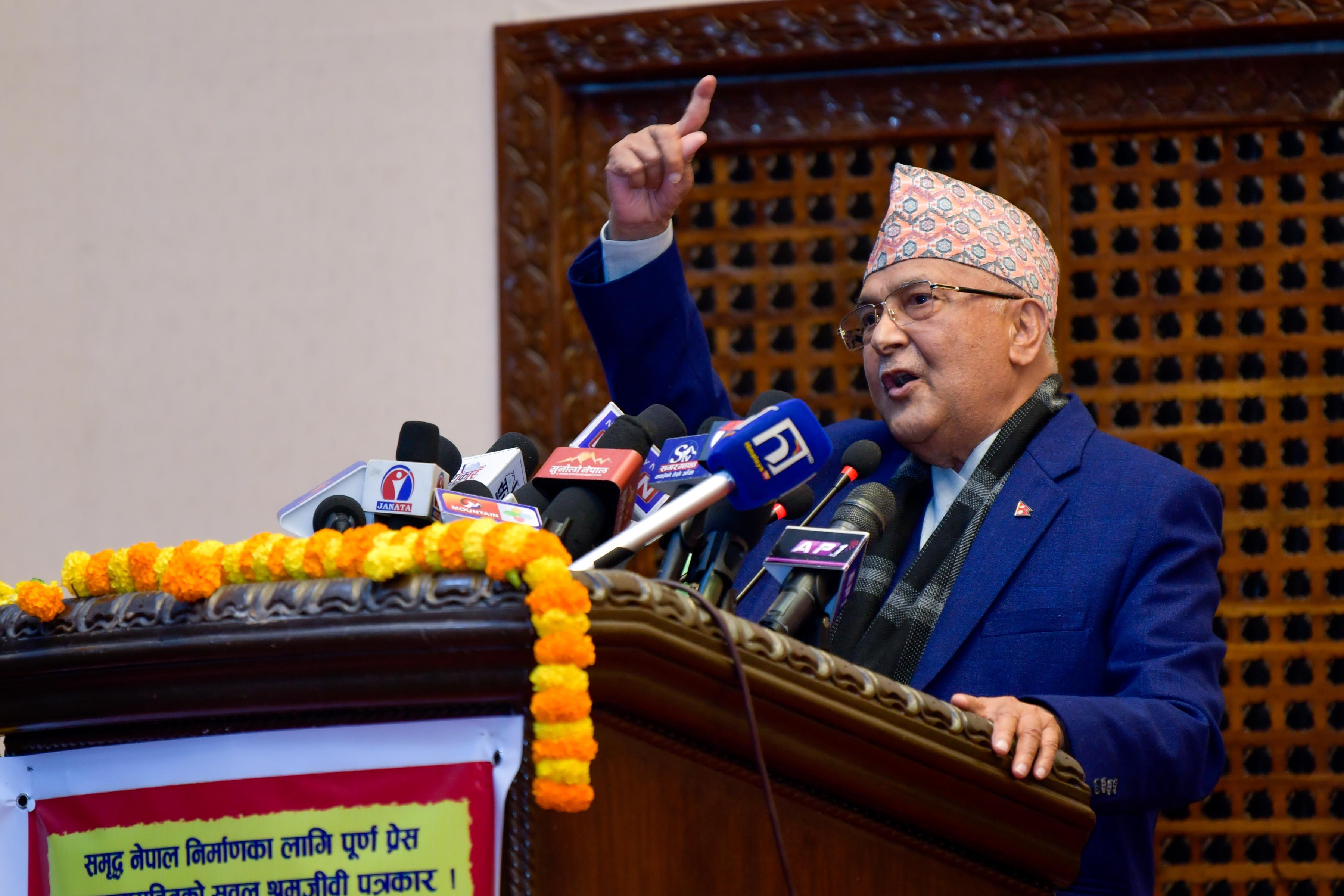Prime Minister KP Sharma Oli addresses the second General Assembly of Press Organisation Nepal, in Kathmandu, on Thursday, January 21, 2021. Courtesy: Rajan Kafle