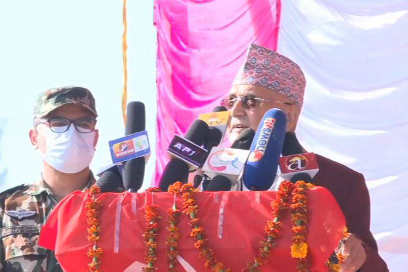 Prime Minister KP Sharma Oli addresses a mass gathering organised by the Oli-led faction of Nepal Communist Party (NCP) of Sudurpaschim Province, at Khula Manch, in Dhangadhi of Kailali district, on Friday, December 8, 2021. Photo: Tekendra Deuba/THT