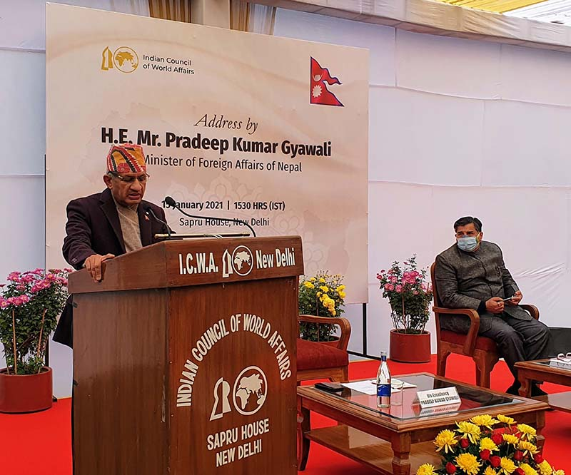 Minister for Foreign Affairs Pradeep Kumar Gyawali delivers speech on Nepal-India relations amid a programme organised by Indian Council of World Affairs in New Delhi, India, on Friday, January 15, 2021. Minister Gyawali is on India vist to take part in the sixth meeting of Nepal-India Joint Commission. Photo: RSS