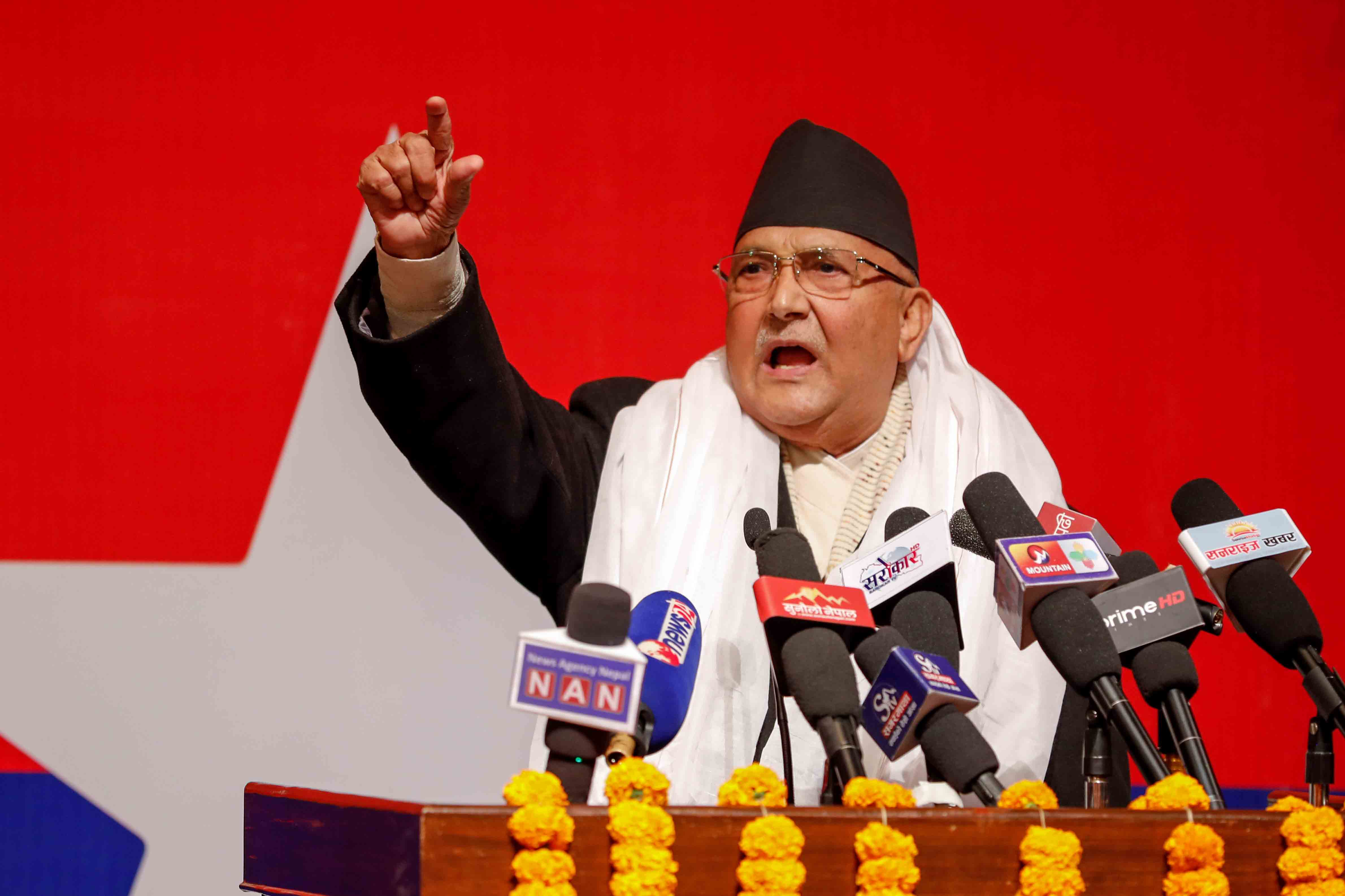 Prime Minister KP Sharma Oli addresses a gathering of Nepal Communist Party (NCP) cadres close to his faction, organised by the party's youth wing Rastriya Yuva Sangh Nepal, in the capital city, on Saturday, January 9, 2021. Photo Courtesy: Rajan Kafle/PM's Secretariat.