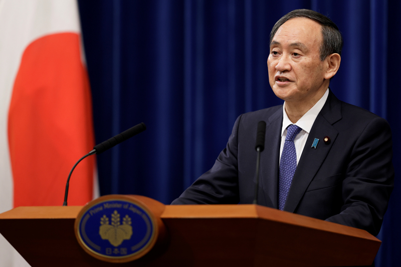 Japan's Prime Minister Yoshihide Suga speaks during a news conference at the prime minister's official residence in Tokyo, Japan January 7, 2021. Photo:  Kiyoshi Ota/Pool via Reuters