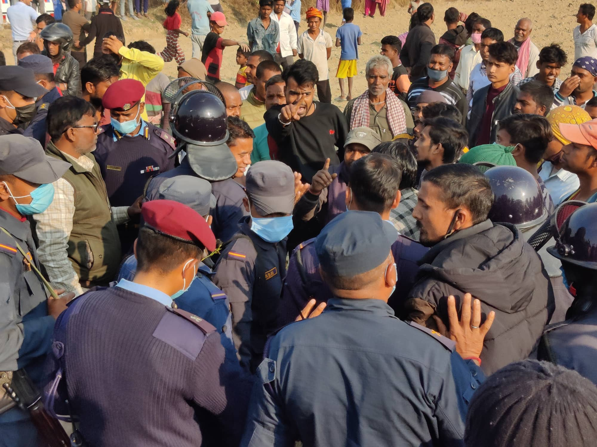 Locals gather around the crime scene in Siraha district, on Wednesday, January 06, 2020. Photo: Aashish BK/THT